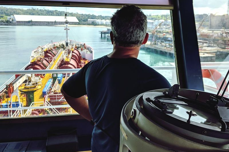 Nautical Theme Life Onboard Tanker Ship Cargo Ship Nautical Vessel Occupation Men Rear View Working Standing Sitting Sky