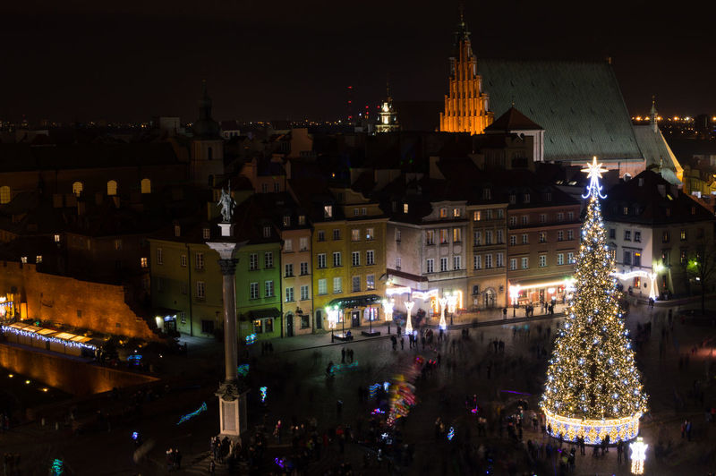 Poland Warsaw Europe Illuminated Architecture Building Exterior Built Structure Night City christmas tree Decoration Building Christmas Celebration Travel Destinations Crowd Large Group Of People Incidental People Holiday Religion Nature Sky Outdoors