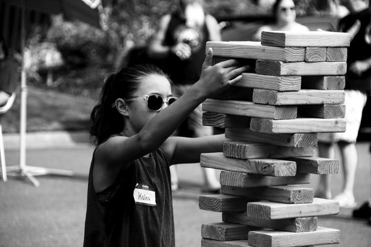 BLOCK PARTY!! Jenga OtherMindMedia Childhood Day Education Elementary Age Girls Learning Lifestyles One Person Outdoors Playing Real People Stack