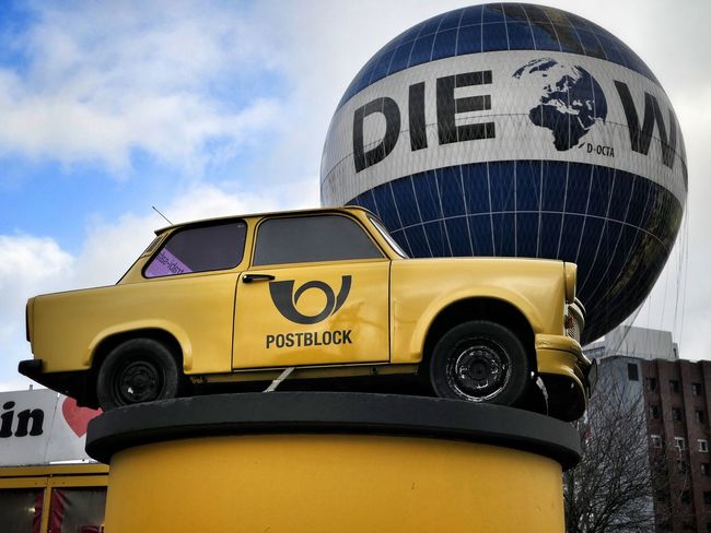 Trabant Berlin Germany Western Script Text Communication Day Sky Yellow Outdoors No People Building Exterior City Close-up