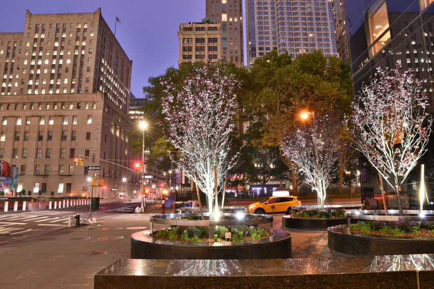 New York New York New York City Architecture Building Building Exterior Built Structure Canal City City Life Dusk Fountain Illuminated Incidental People Light Motion Nature Night Office Building Exterior Outdoors Plant Skyscraper Street Travel Destinations Tree Water