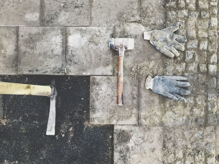 Work Gloves Hammer Boardwalk Sidewalk Construction Site Work Tool DIY No People Hand Tool Outdoors Day Wrench