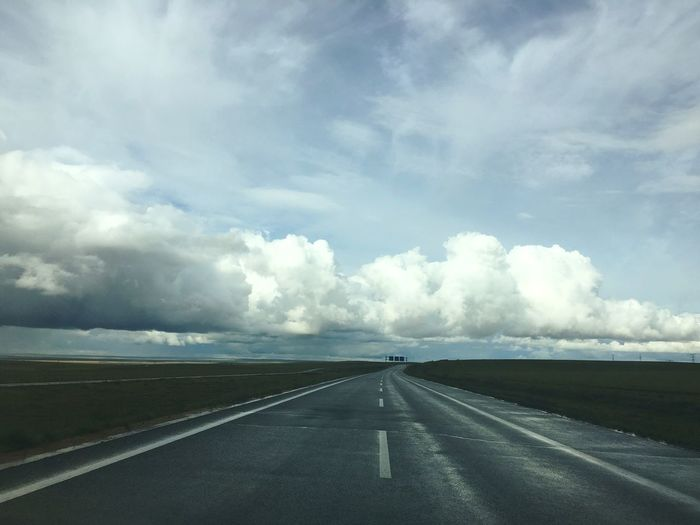 锡林郭勒 Xilin Gol Road 路 Clouds 云 Landscape 内蒙古 Inner Mongolia