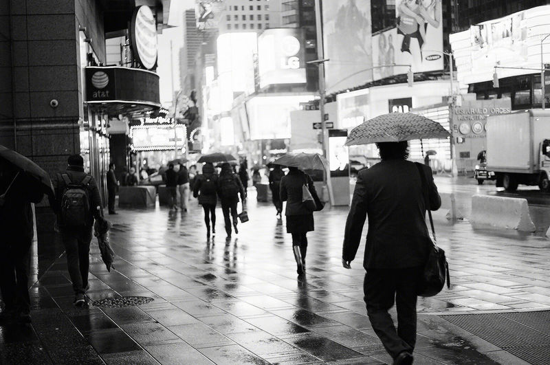 Not sure if i'd call it lucky, the company i am working for had to move twice before we finally settled in our permanent space for few years. But the good thing was, i was able to see different things, walked by Times Sq everyday. Here's a series of walking to work under the rain. Blackandwhite Black And White Black & White Black And White Photography Black&white Film Film Photography Filmisnotdead Ilford The Street Photographer - 2018 EyeEm Awards Times Square NYC Architecture Black And White City City Life Film Photography Group Of People Rain Rainy Season Real People Street Wet