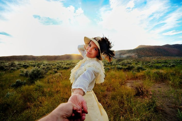 Come along with me... Antique Clothing Beauty In Nature Cloud - Sky Day Enjoyment Field Full Length Landscape Lifestyles Mountain Nature Non-urban Scene Outdoors Person Sagebrush Side View Sky Summer Three Quarter Length Tranquility Young Adult Young Women