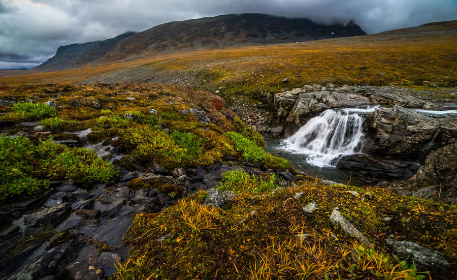 September hiking along The King's Trail in northern Sweden Autumn Day Europe Flowing Green Hiking Kungsleden Motion Mountain Nature Non-urban Scene Northern Europe Outdoors Rain Rock Formation Scandinavia September Splashing Stone Stream The Kings Trail Tjäktja Tranquility Water Waterfall