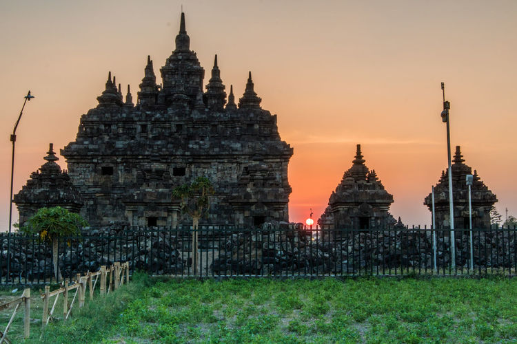 View of temple at sunset