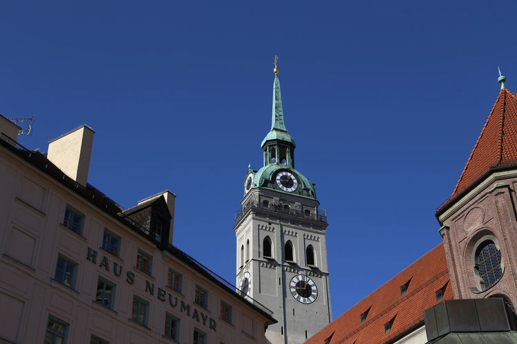 1711, munich city views, Alter Peter Munich München Alter Peter Architecture Blue Building Exterior Built Structure Clear Sky Clock Tower Day Germany History Low Angle View No People Outdoors Place Of Worship Religion Sky Spirituality