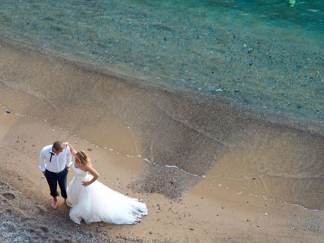 Wedding photo shoot for a beautiful couple Aereal View Beach Blue Beach Bride Gettingmarried Love Newlywed Photoshoot Turkey Wedding