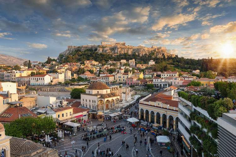 Sunset over the Acropolis and old town of Athens, Greece Ancient City Cityscape Greek Mediterranean  Parthenon Plaka Skyline Tourist Attraction  Travel Acropolis Athens Building Exterior City Cityscape Cloud - Sky Europe Greece High Angle View Outdoors Sun Sunlight Sunset TOWNSCAPE Travel Destinations