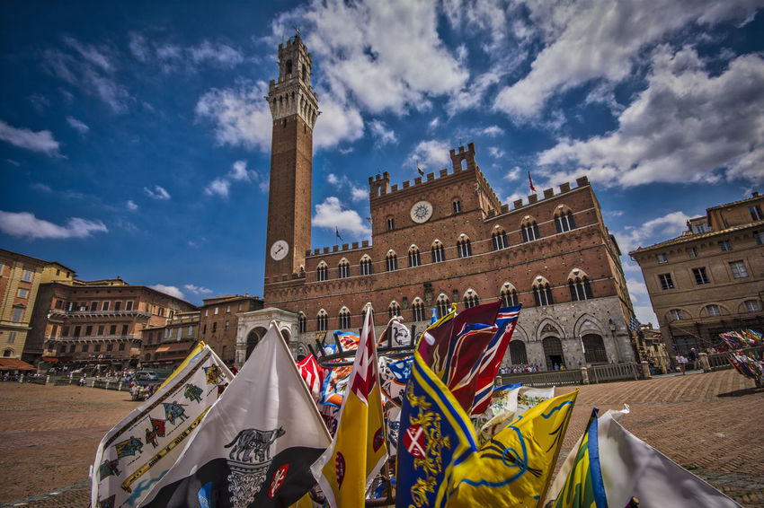 Piazza del Campo, Siena, Italy Ancient Clouds Colours Flag Flags Medieval Medieval Architecture Medieval Town Piazza Del Campo Sky Square Torre Del Mangia