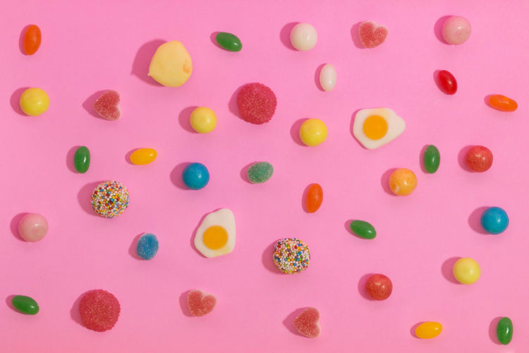 Backgrounds Candy Circle Colored Background Food Food And Drink Freshness Full Frame Indoors  Large Group Of Objects Multi Colored No People Pattern Pink Background Pink Color Shape Snack Spotted Still Life Studio Shot Sweet Food Temptation