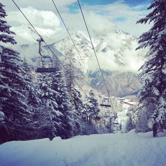 Maurienne Snow Cable Ski Lift Tree Mountain Savoie-les Karellis-France Beautiful Holiday Skiinstructor Ski Holiday Ski Tree Area
