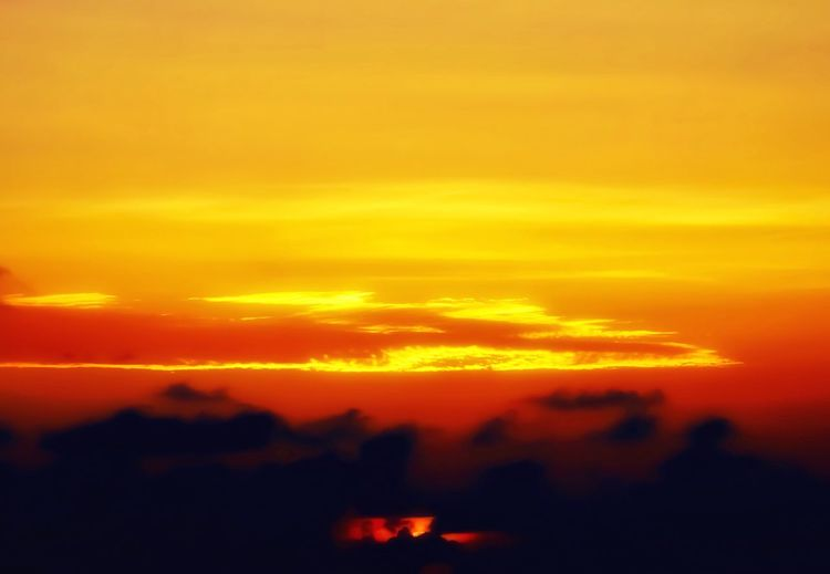 A unique and ethereal sunset. 🌅 Sunset Sky Orange Color Nature Beauty In Nature Silhouette Scenics Outdoors Summer Ethereal Tranquility Warmth Taking Photos Relaxing Evening Walking Around