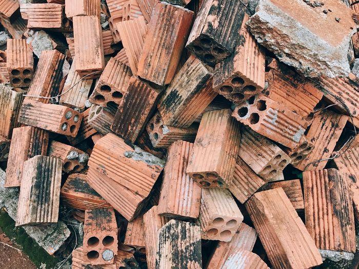 Full frame shot of broken bricks