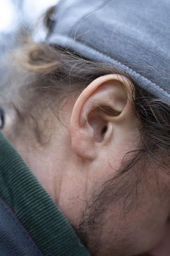 Close-up of man ear