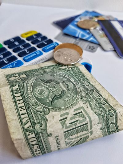 Money Wealth Credit Card Coins Dollars Dollar Bill Calculator Banking Business Finance And Economy Banknote Composition Close-up In A Wallet Cards Card Reader Buying Buying Power Cashmoney  Cash Savings
