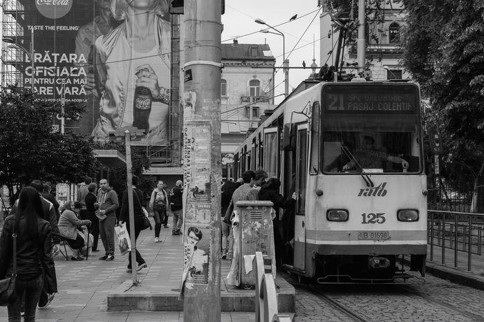Tram Bucharest Romania Tram Stop Blackandwhite Black & White Black And White Black&white Blackandwhite Photography Black And White Photography Public Transportation Large Group Of People City Transportation People