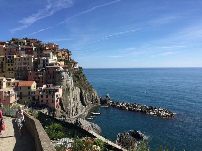 Blue Cinque Terre City Cityscape Coastline Day Horizon Over Water Manarola Outdoors Residential District Sea Sky Tourism Town Travel Destinations Water