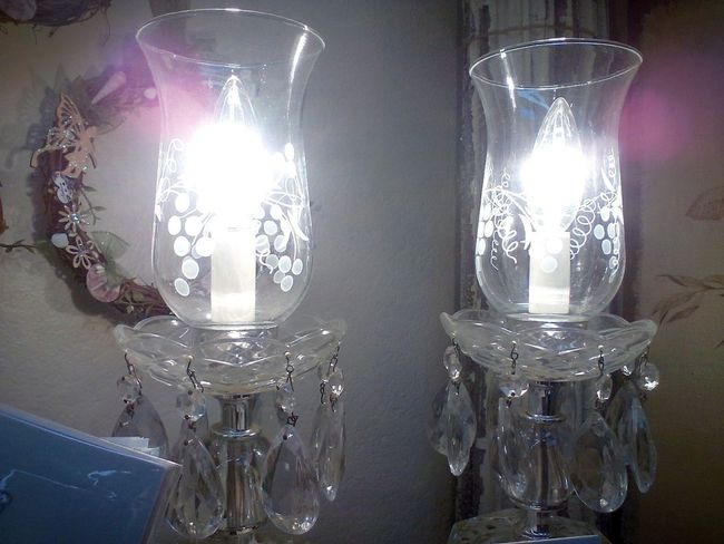 For sale at Finds in Burnet, Texas Beautiful Burnet Elegant Fairy Fairytale  Beauty Clear Glass Close-up Crystals Etched Etched Glass Fairy Lights Fairylights Finds For Sale Glass Glass - Material Glowing Illuminated Indoors  Lamps Lighting Equipment