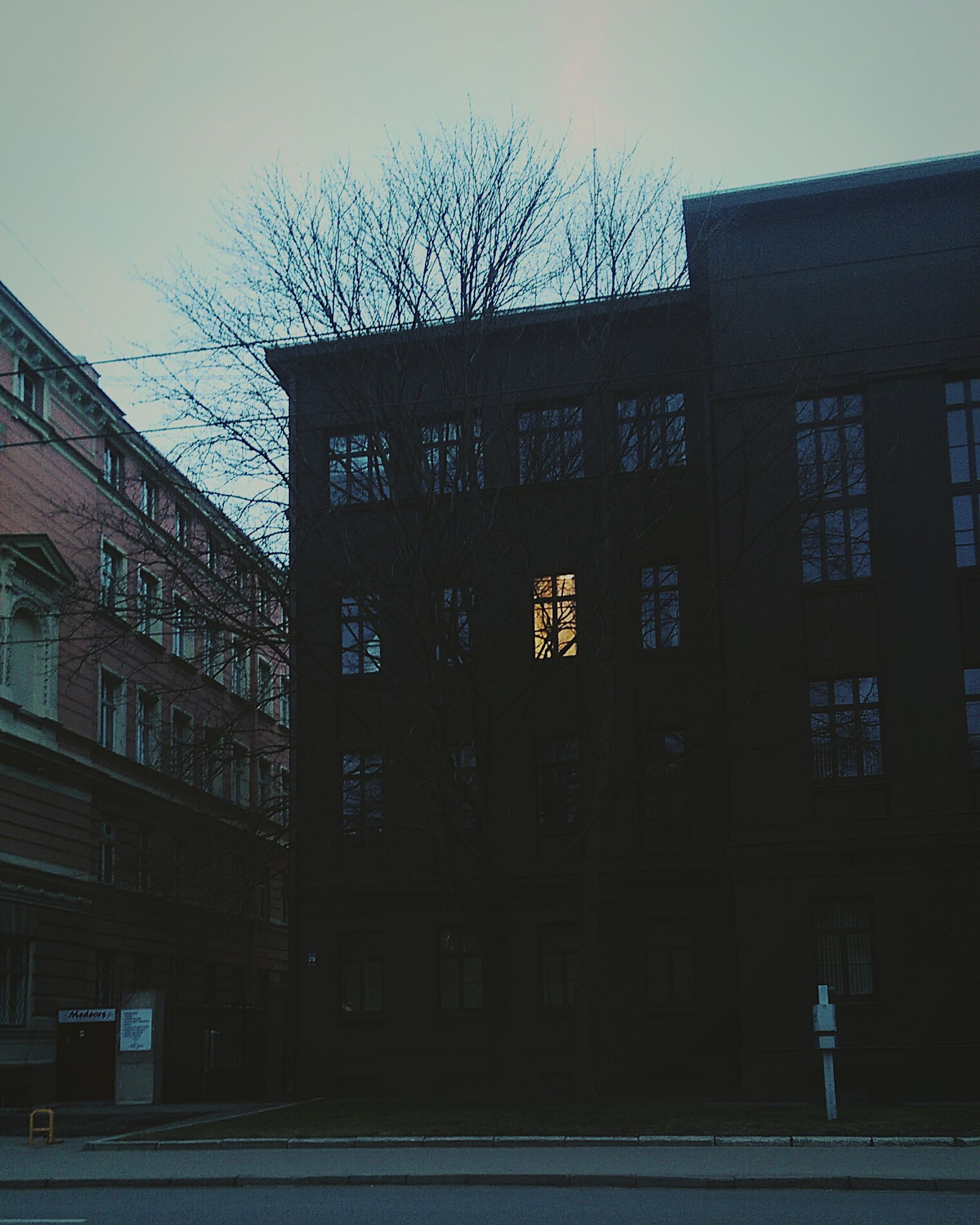 building exterior, architecture, built structure, bare tree, city, building, sky, residential building, residential structure, window, low angle view, street light, house, tree, outdoors, street, no people, clear sky, day, dusk