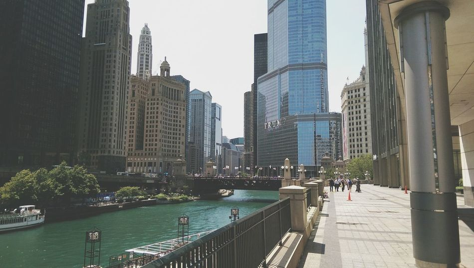 Chicago River. You can see Trump tower there!! Downtown Chicago Chicago Summer Clouds And Sky City Enjoying Life