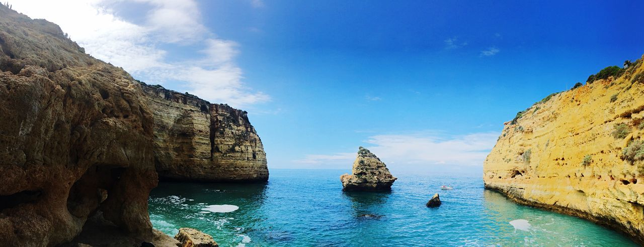 Praia Do Vale Covo Panoramic View Panoramic Photography Rock Formation Algarve Portugal Water Sky Nature Cloud - Sky Beauty In Nature No People Tranquil Scene Outdoors Rock - Object Nautical Vessel Sea Scenics - Nature Day Tranquility Rock Solid Waterfront Blue Transportation
