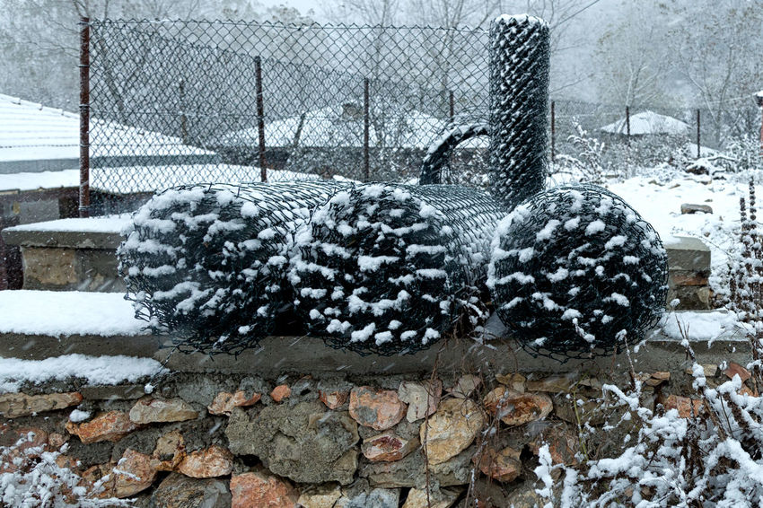 Snowy Village Life Beauty In Nature Chainlink Fence Cold Temperature Fencing Material Landscape Nature Outdoors Snowing Snowy Stone Wall Sünnet Sünnetköy Turkey View Village Life Winter