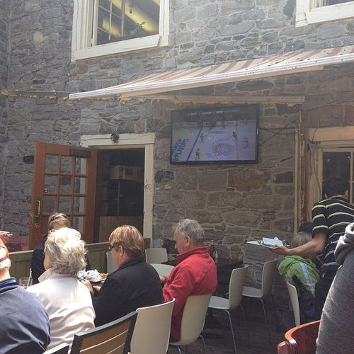 Catching the Canadiens game in the patio Jjandkinmtl
