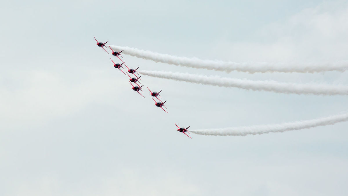 Armed forces day Air Craft Airplane Airshow Display Team Flying Red Arrows Sky Teamwork