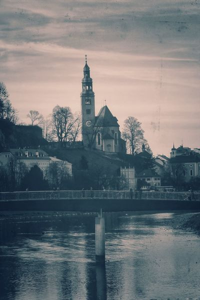Tower Reflection Travel Destinations Architecture Clock Tower Built Structure Water Building Exterior City Outdoors Sky Bridge - Man Made Structure Clock Day Clock Face Retrolux Filter Retro Styled Retromatic Salzburg, Austria Sunset No People Welcome To Black Riverbank