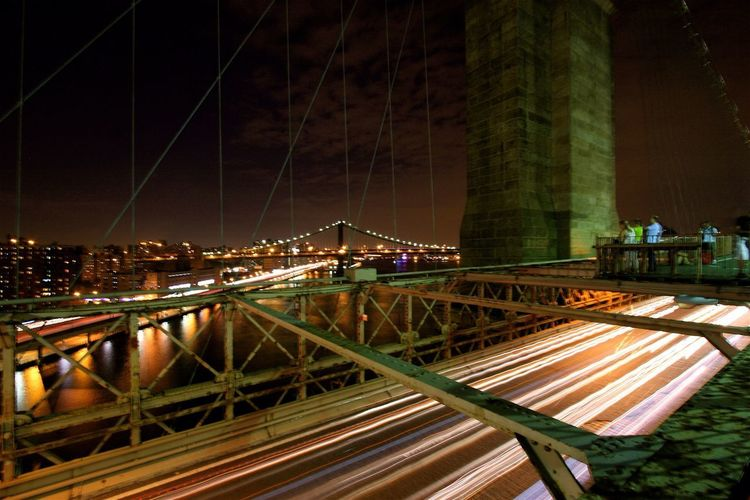 Brooklyn Bridge Bridge - Man Made Structure Night Architecture Illuminated Connection Engineering Built Structure Long Exposure Motion Light Trail Outdoors City Travel Destinations Building Exterior Cityscape