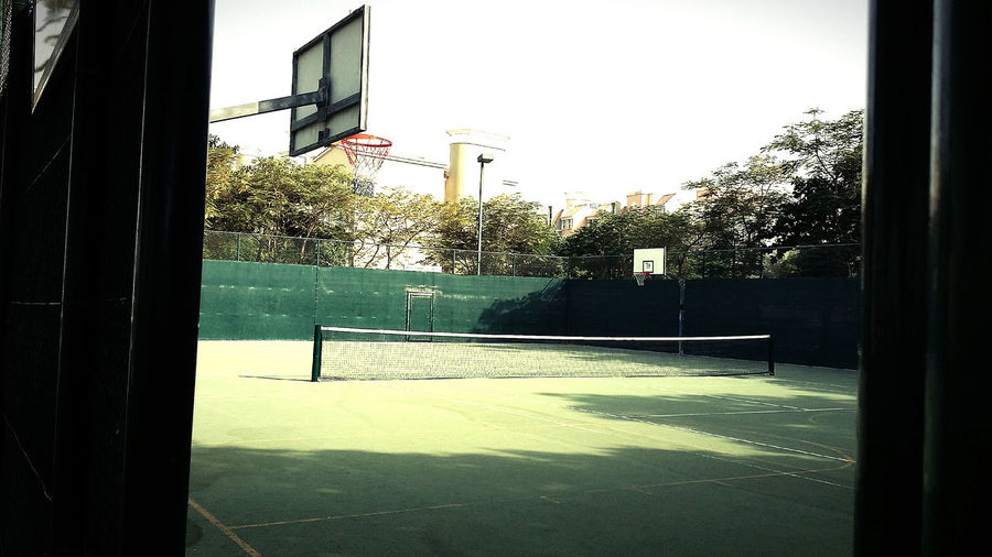 Waiting Meeting Friends Enjoying Life let's play basketball& tennis