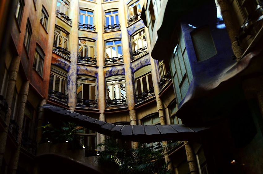 🏘🇪🇸✨ Another World Illuminated Architecture Real People Indoors  Standing Built Structure One Person Human Leg Night People SPAIN House Gaudi Summertime Summer2016 Traveling Travel Photography Travelaroundtheworld Trip Colorful View Downstairs