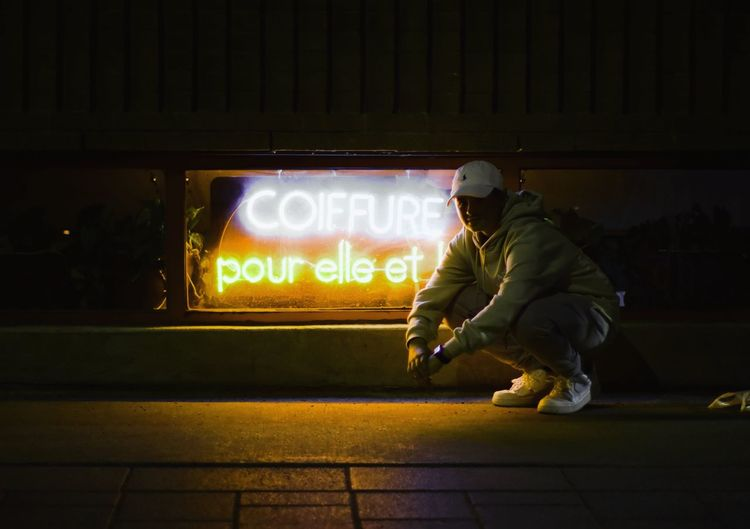Paint The Town Yellow Night Illuminated Adult One Man Only Men Adults Only One Person People Only Men Outdoors Urbanphotography The Street Photographer - 2017 EyeEm Awards City City Street Architecture Montréal Nikonofficals Nikonography