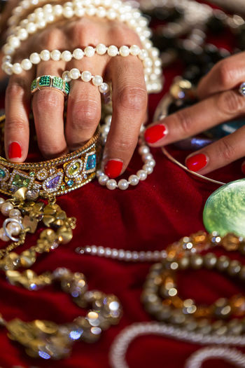 Spreading out the jewelery box Pearls Human Hand Human Body Part Jewelry Hand Red Bracelet Close-up Adult Body Part One Person Pearl Jewelry Women Human Finger Finger Ring Nail Selective Focus Wealth Nail Polish Luxury The Portraitist - 2019 EyeEm Awards