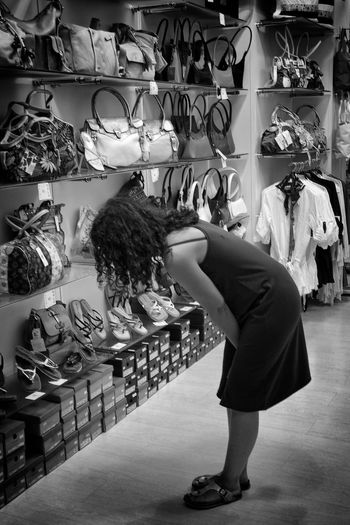 Bags Black & White Black And White EyeEm Gallery Handbags Rear View Selling Shoes Store Woman