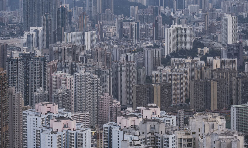 High angle view of skyscraper and high-rise buildings in hong kong.