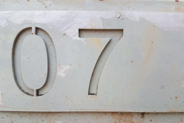 Close-up of metallic numbers