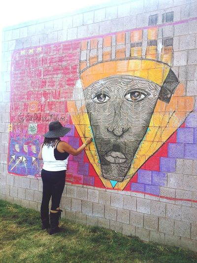 Detroit native and artist Sabrina Nelson being amazing as usual. Mural Afrcan World Festival Detroit AWFDetroit AWF33