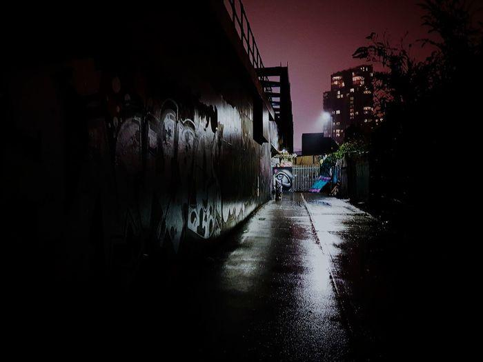 Brick Lane London United Kingdom Night Graffiti Lights Shadow Rain Puddle Eye East London Bridge - Man Made Structure Dusk Water Wet Architecture Sky Built Structure Railway Bridge Street Art Spray Paint Rainy Season The Way Forward