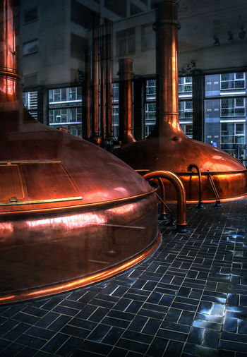 Brewery Brewing Beer Munich Brewers Sheen Shiny Sudkessel Beverage Industry Brauerei Brew Kettle Brewery Change Copper  Corporation Huge Indoors  Industrial Scale No People Polished Public Reflections Shadowy Tall Through The Window Tiles Trade Traditional