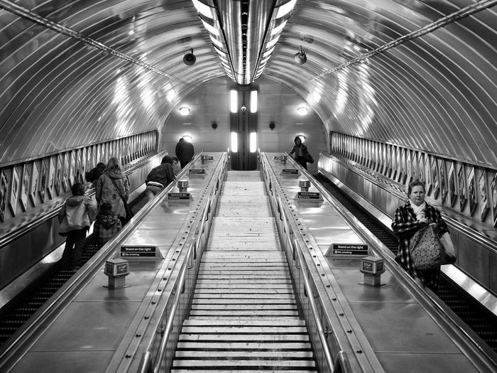 Landscape London London Underground Escalators Stairs People Right Tube Underground Walk Walking Around