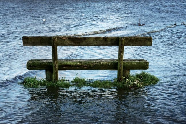 Bench Day Lake Nature No People Outdoors Reflection Tranquility Water Water Reflections Waterfront River Riverside Elbe Elbe River Lühe Lühe-Deich Landscape Eyeem Collection Getty Images Premium Collection The EyeEm Collection
