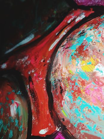 Painted Image Multi Colored Textured  Full Frame Paint Abstract Art And Craft Backgrounds Close-up