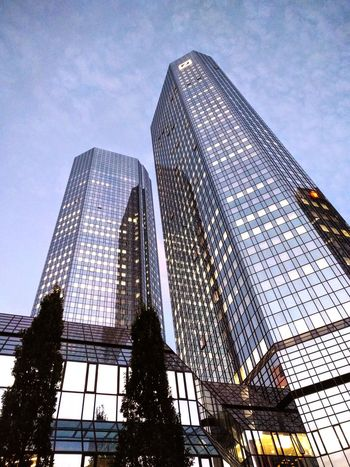 Low Angle View Skyscraper Architecture Modern Built Structure Building Exterior Tall - High Office Building Tower City Glass - Material Sky Growth Architectural Feature Blue Building Story Development Outdoors Urban Skyline Place Of Work Frankfurt Am Main