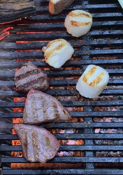 Steaks IPhoneography Grill Marks Scallop Food Food And Drink Freshness No People Still Life High Angle View Directly Above Barbecue Grill Indulgence Ready-to-eat Barbecue Indoors  Preparation  Wellbeing Healthy Eating Temptation Metal Grate Grilled