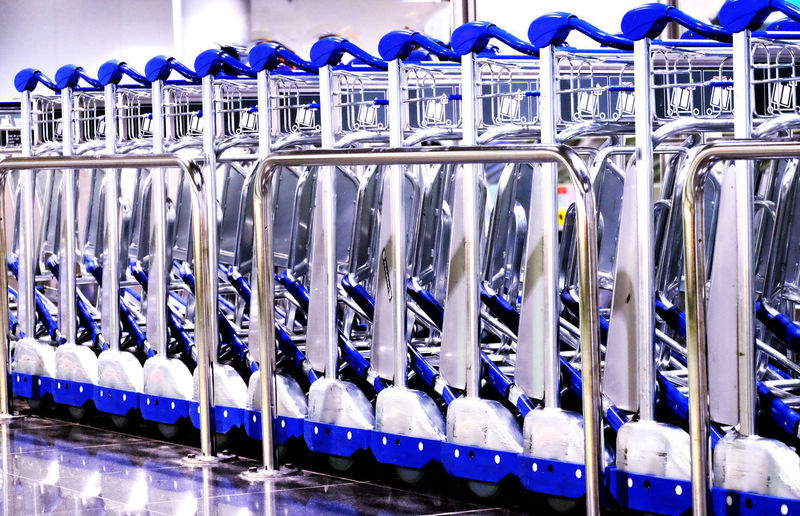 International Airport Frankfurt Transport Logistik Aluminum Blue In A Row Indoors  Large Group Of Objects Luggage Trolleys Metal No People Order Side By Side Silver Colored Technology