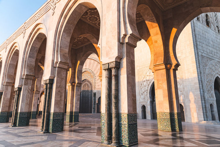 Arcade of hassan ii mosque in casablanca, morocco