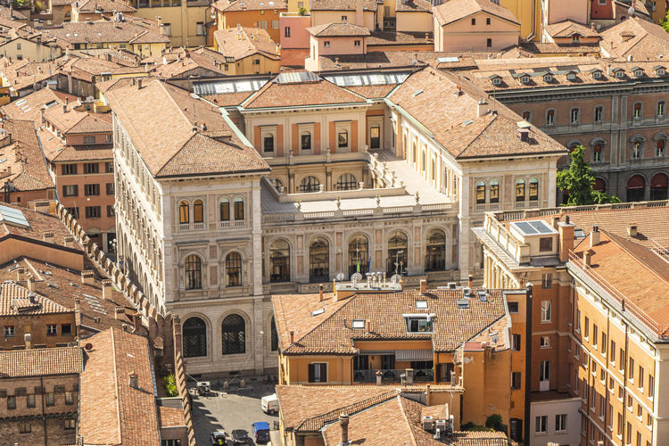 Aerial view of bologna with beautiful church and historical buildings